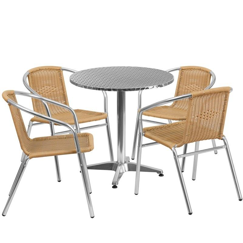 Flash Furniture TLH-ALUM-28RD-020BGECHR4-GG 27.5'' Round Aluminum Indoor-Outdoor Table Set with 4 Beige Rattan Chairs