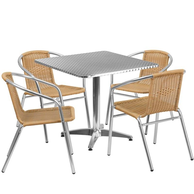 Flash Furniture TLH-ALUM-32SQ-020BGECHR4-GG 31.5'' Square Aluminum Indoor-Outdoor Table Set with 4 Beige Rattan Chairs