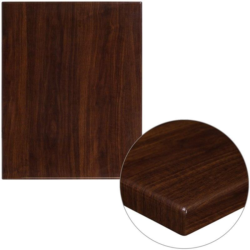 "Flash Furniture TP-WAL-2430-GG 24"" x 30"" Rectangular High-Gloss Walnut Resin Table Top with 2"" Thick Edge"