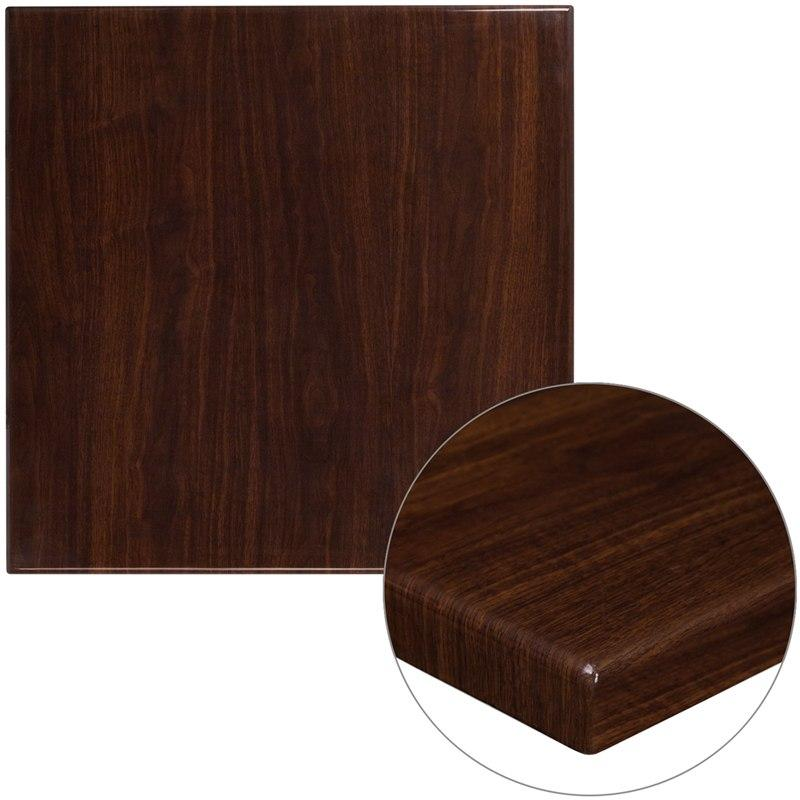 Flash Furniture TP-WAL-3030-GG 30'' Square High-Gloss Walnut Resin Table Top with 2'' Thick Drop-Lip