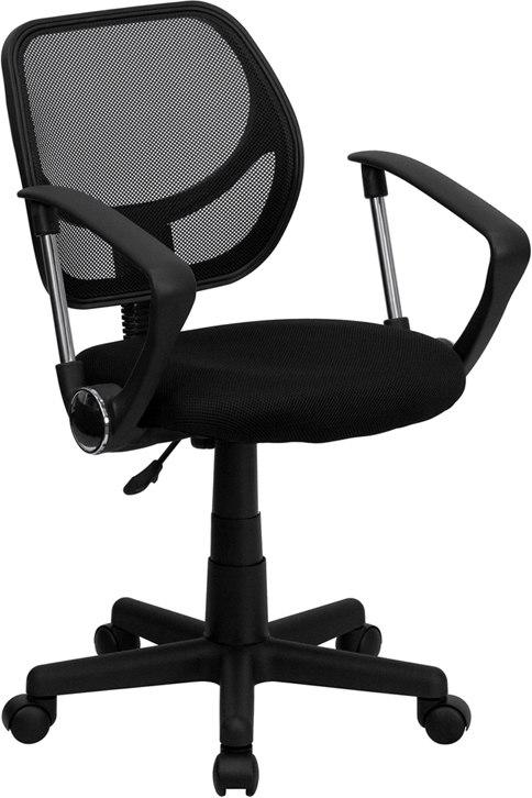 Flash Furniture WA-3074-BK-A-GG Mid-Back Black Mesh Swivel Task Chair with Arms