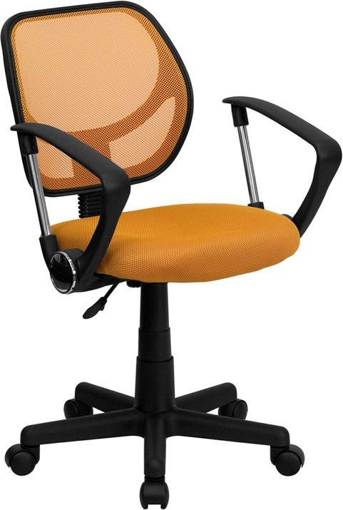 Flash Furniture WA-3074-OR-A-GG Mid-Back Orange Mesh Swivel Task Chair with Arms
