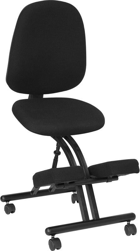 Flash Furniture WL-1428-GG Mobile Ergonomic Kneeling Posture Chair with Back in Black Fabric