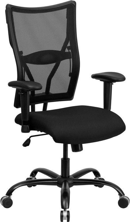 Flash Furniture WL-5029SYG-A-GG HERCULES Series Big & Tall 400 lb. Rated Black Mesh Executive Swivel Chair with Adjustable Arms