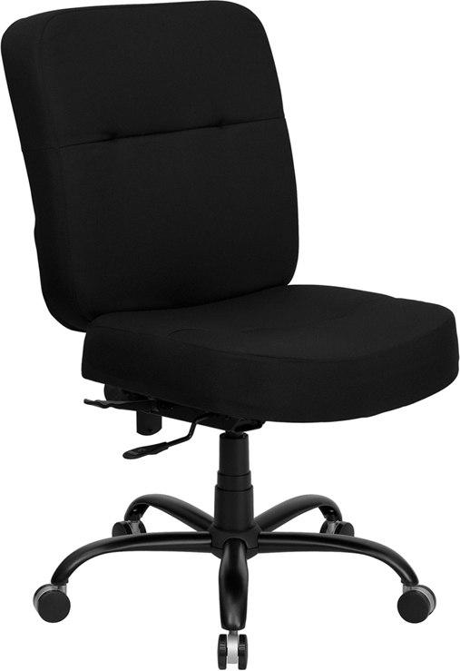 Flash Furniture WL-735SYG-BK-GG HERCULES Series Big & Tall 400 lb. Rated Black Fabric Executive Swivel Chair