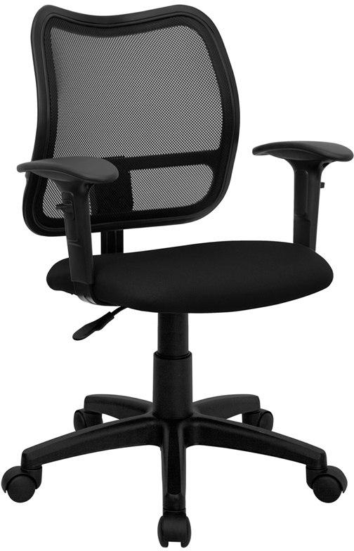 Flash Furniture WL-A277-BK-A-GG Mid-Back Black Mesh Swivel Task Chair with Adjustable Arms