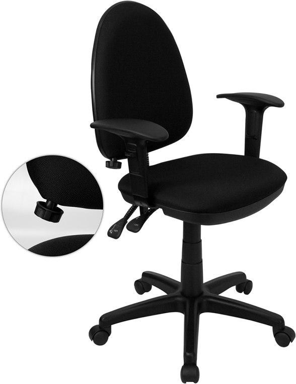 Flash Furniture WL-A654MG-BK-A-GG Mid-Back Black Fabric Multifunction Swivel Task Chair with Adjustable Lumbar Support and Adjustable Arms