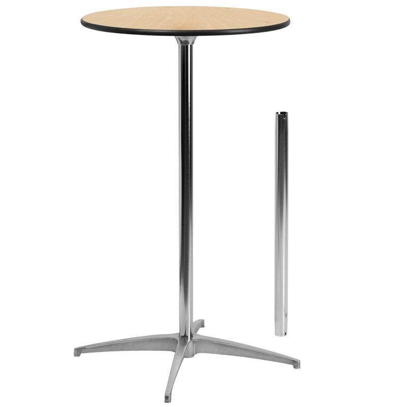 Flash Furniture XA-24-COTA-GG 24'' Round Wood Cocktail Table with 30'' and 42'' Columns