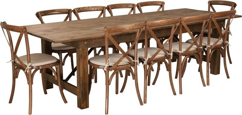 Flash Furniture XA-FARM-15-GG HERCULES Series 9' x 40'' Antique Rustic Folding Farm Table Set with 10 Cross Back Chairs and Cushions