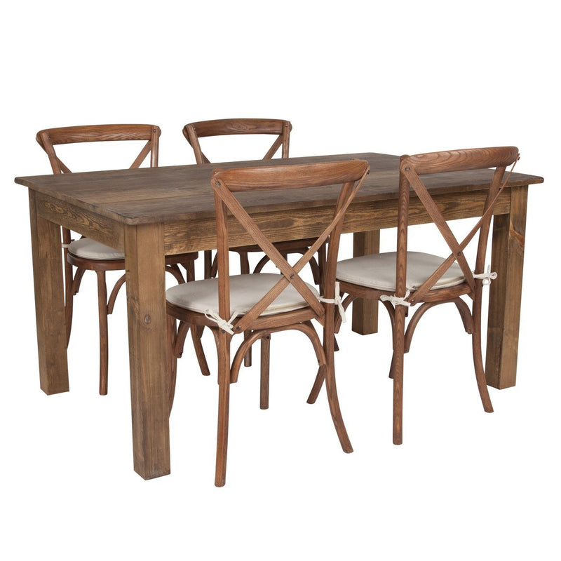 "Flash Furniture XA-FARM-18-GG 60"" x 38"" Antique Rustic Farm Table Set with 4 Cross Back Chairs and Cushions"