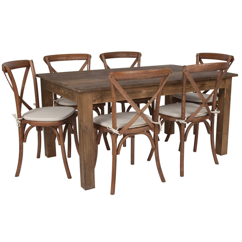 "Flash Furniture XA-FARM-19-GG 60"" x 38"" Antique Rustic Farm Table Set with 6 Cross Back Chairs and Cushions"