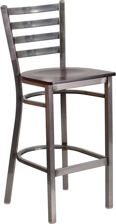 Flash Furniture XU-DG697BLAD-CLR-BAR-WALW-GG HERCULES Series Clear Coated Ladder Back Metal Restaurant Barstool - Walnut Wood Seat