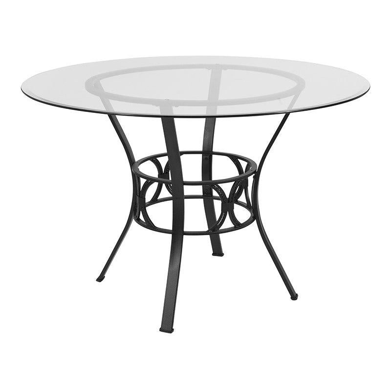 Flash Furniture XU-TBG-5-GG Carlisle 45'' Round Glass Dining Table with Black Metal Frame