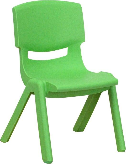 Flash Furniture YU-YCX-003-GREEN-GG Green Plastic Stackable School Chair with 10.5'' Seat Height