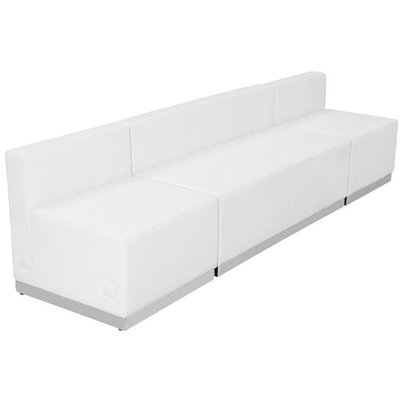 Flash Furniture ZB-803-680-SET-WH-GG HERCULES Alon Series Melrose White Leather Reception Configuration, 3 Pieces