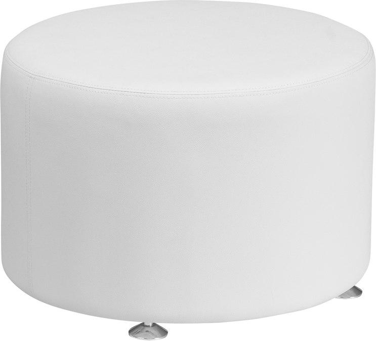 Flash Furniture ZB-803-RD-24-WH-GG HERCULES Alon Series Melrose White Leather 24'' Round Ottoman