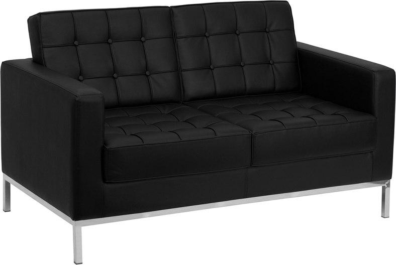 Flash Furniture ZB-LACEY-831-2-LS-BK-GG HERCULES Lacey Series Contemporary Black Leather Loveseat with Stainless Steel Frame