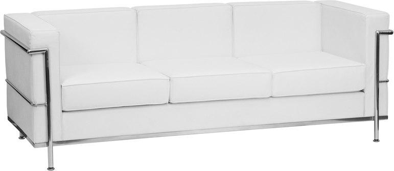 Flash Furniture ZB-REGAL-810-3-SOFA-WH-GG HERCULES Regal Series Contemporary Melrose White Leather Sofa with Encasing Frame