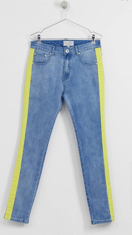 Logan skinny jean with neon yellow stripe