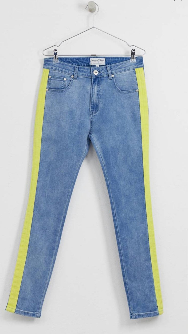 Logan skinny jean with neon yellow stripe - Liquor N Poker  Liquor N Poker
