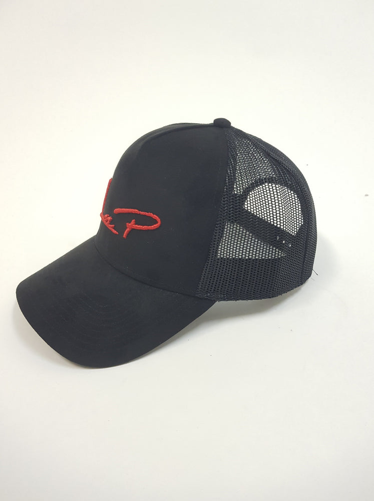 Liquor n Poker - Miller suede trucker baseball cap in black