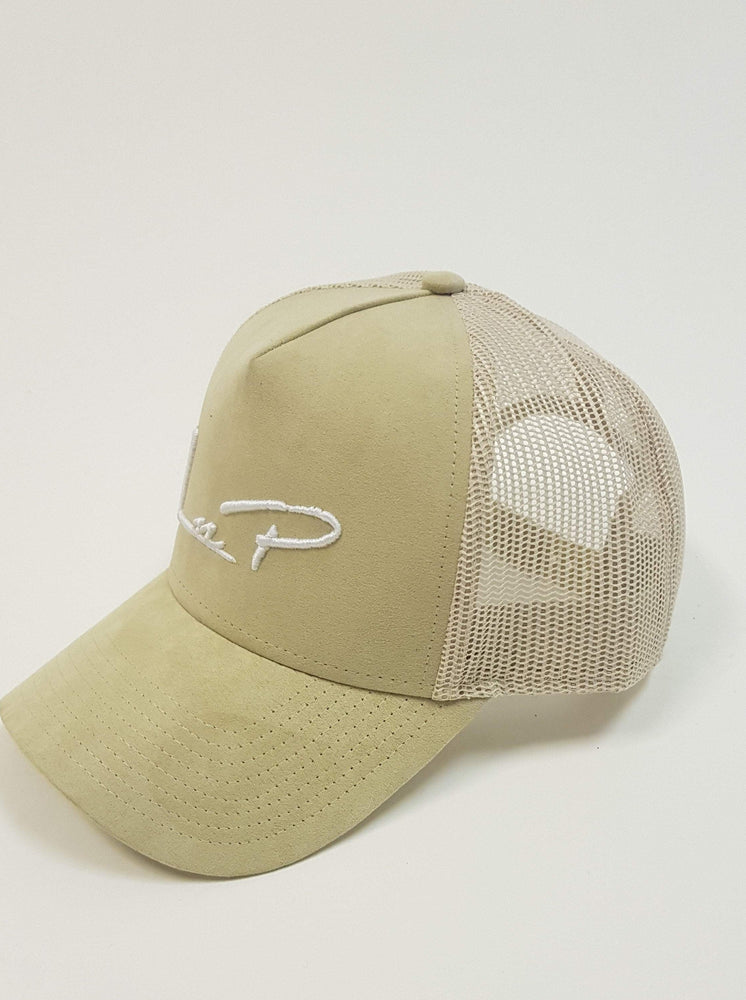 Liquor n Poker - Miller suede trucker baseball cap in sand