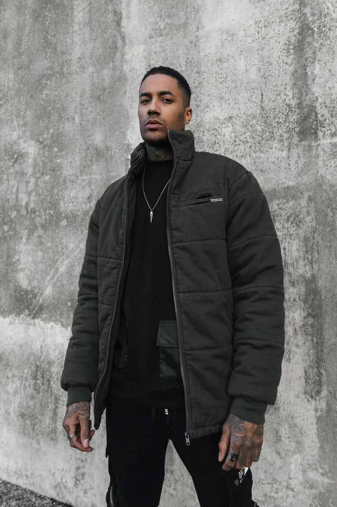 Load image into Gallery viewer, No boundaries denim puffa jacket in KHAKI
