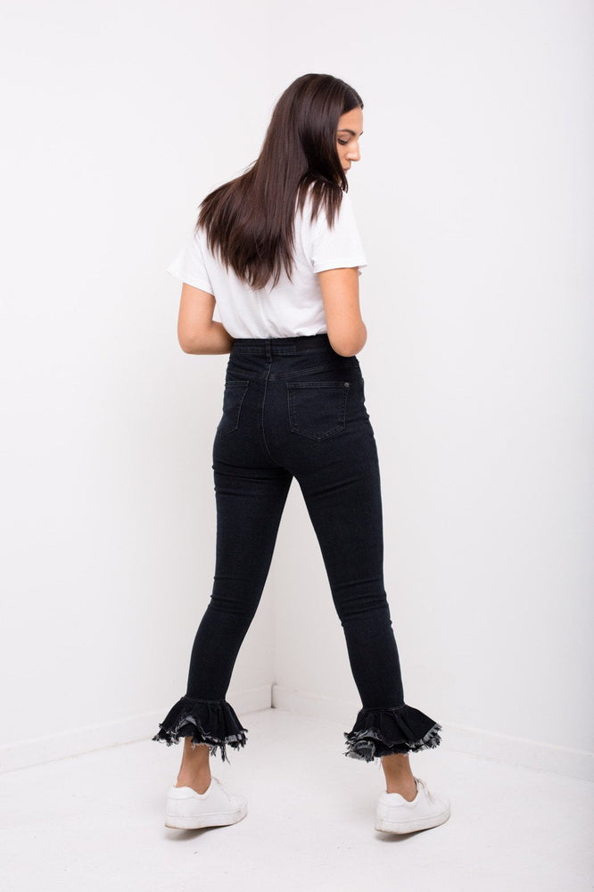 Detroit High Waisted Skinny Jeans With Peplum Ruffle Hem - Liquor N Poker  LIQUOR N POKER