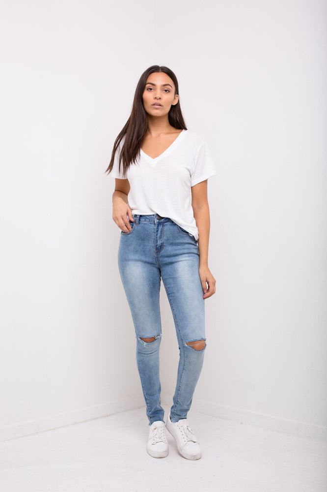 Detroit High Waisted Ripped Knee Skinnies