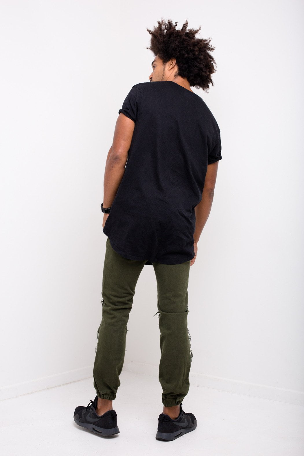 Liquor n Poker - Charleston Distressed drop crotch jogger in Khaki - Liquor N Poker  Liquor N Poker