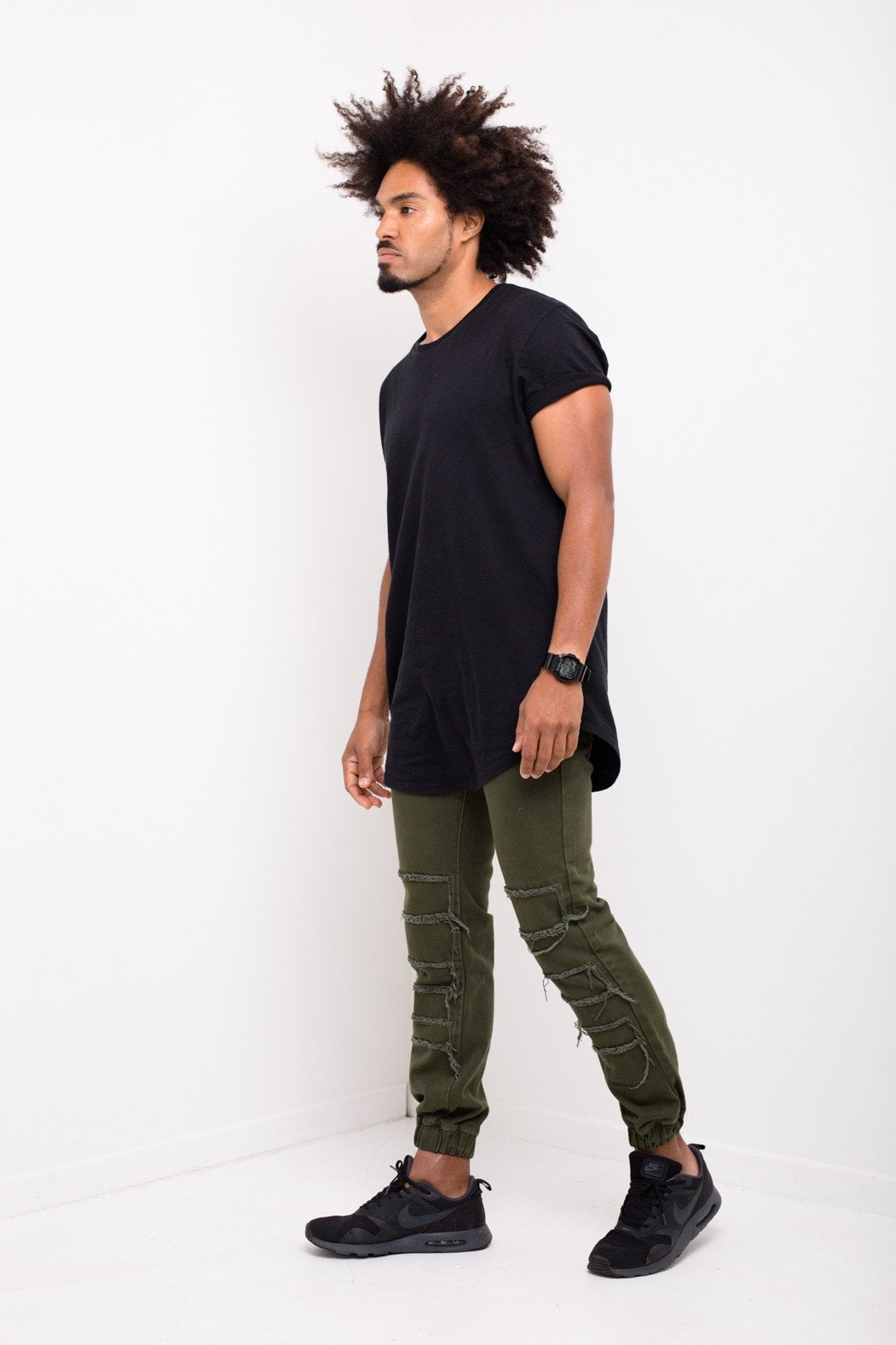 Charleston Distressed Drop Crotch Jogger In Khaki - Liquor N Poker  Liquor N Poker
