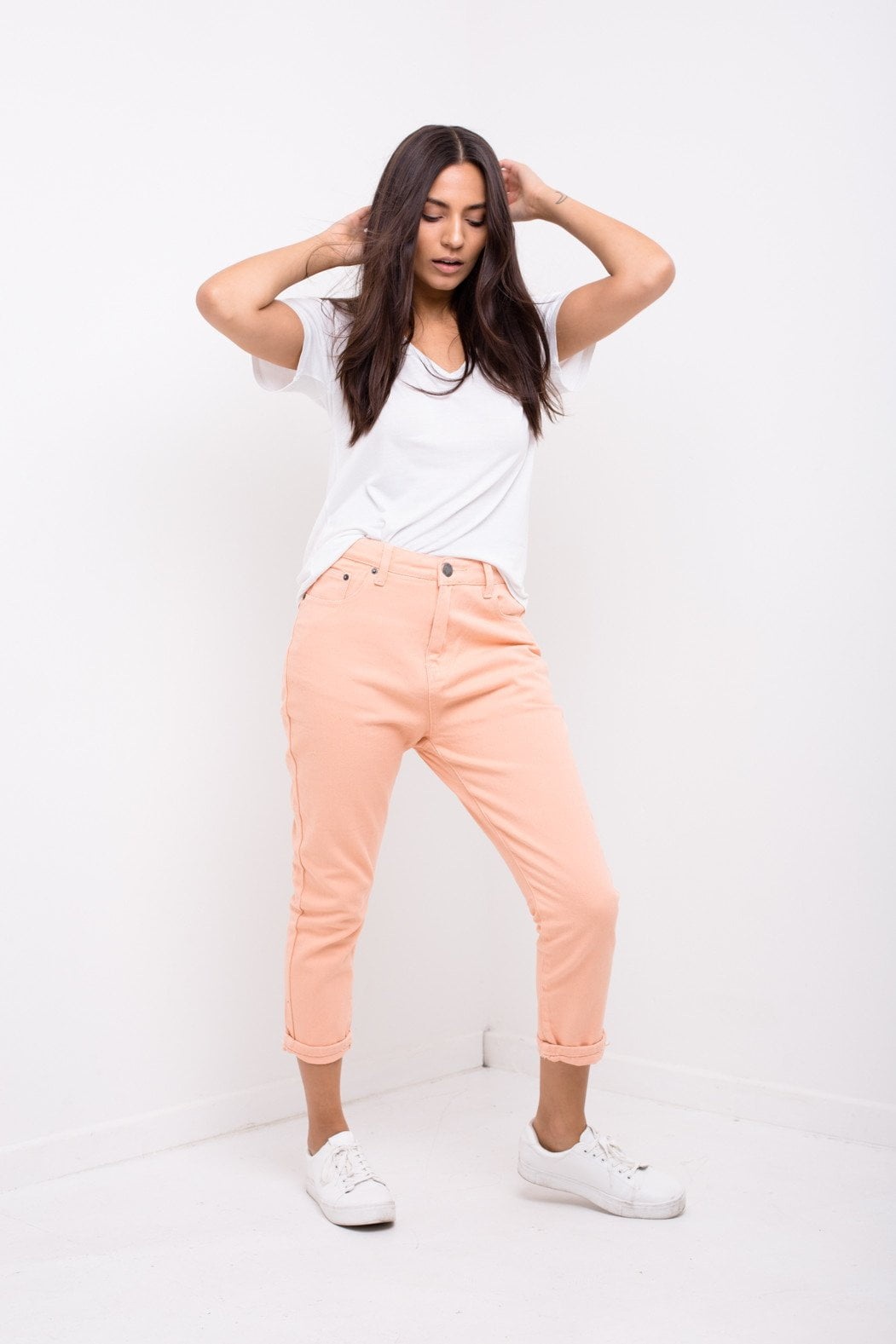 Liquor n Poker - HIGH ESPIRIT Mom jean in peach twill - Liquor N Poker  Liquor N Poker