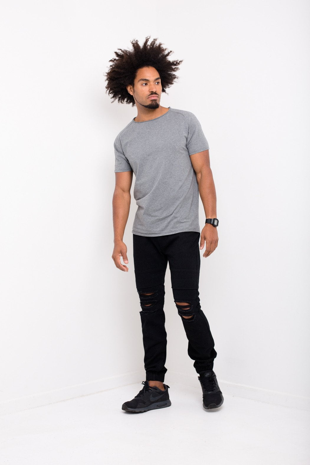 Liquor n Poker - Charleston Distressed drop crotch jogger in Black