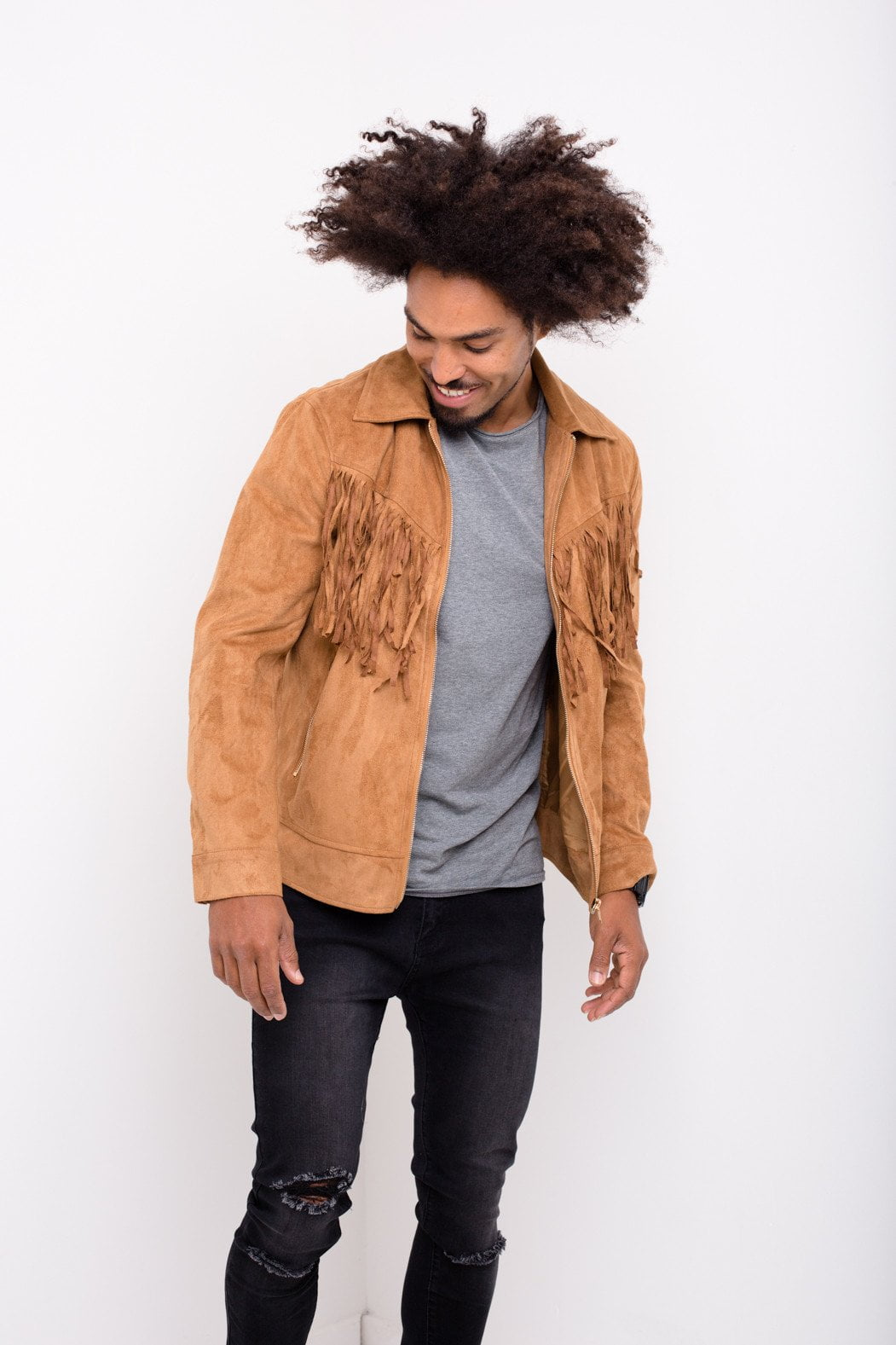 Liquor n Poker - Norton Suede Western Jacket with Tassells in Tan - Liquor N Poker  Liquor N Poker