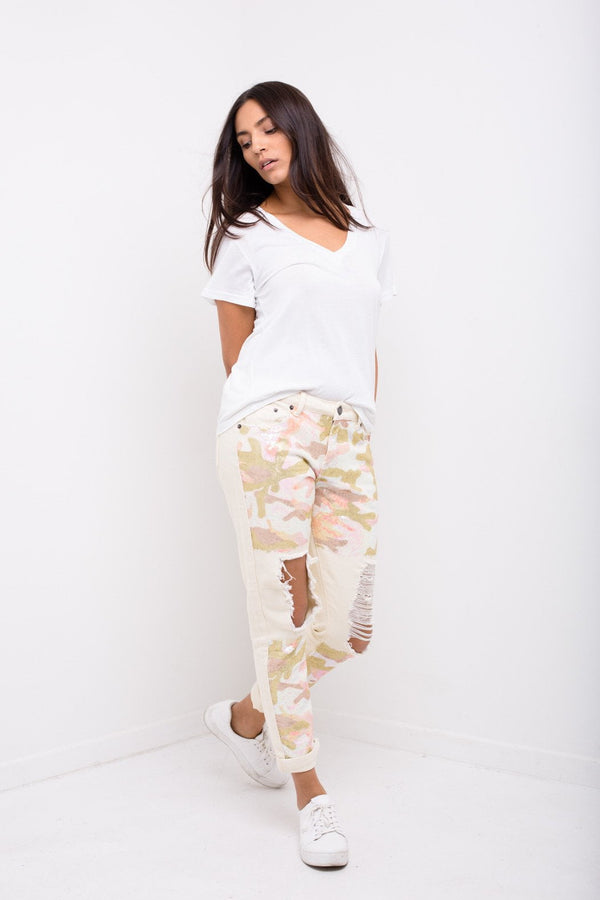 Midori Boyfriend Jean In Ecru Twill With Pink Camo Sequin - Liquor N Poker  Liquor N Poker