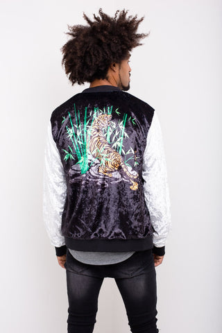 Liquor n Poker - Souvenir Crushed Velour bomber jacket with Tiger Print - Liquor N Poker  Liquor N Poker