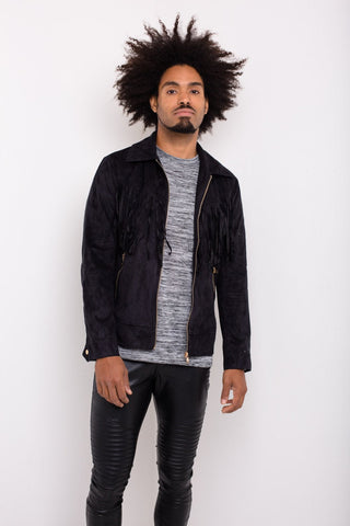 Liquor n Poker - Norton Suede Western Jacket with Tassells in Black - Liquor N Poker  Liquor N Poker