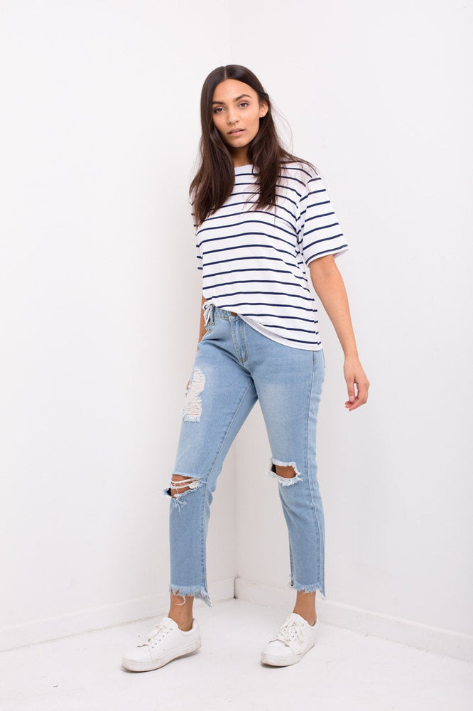 Midori Boyfriend Jean With Distressing And Stepped Ankle Hem
