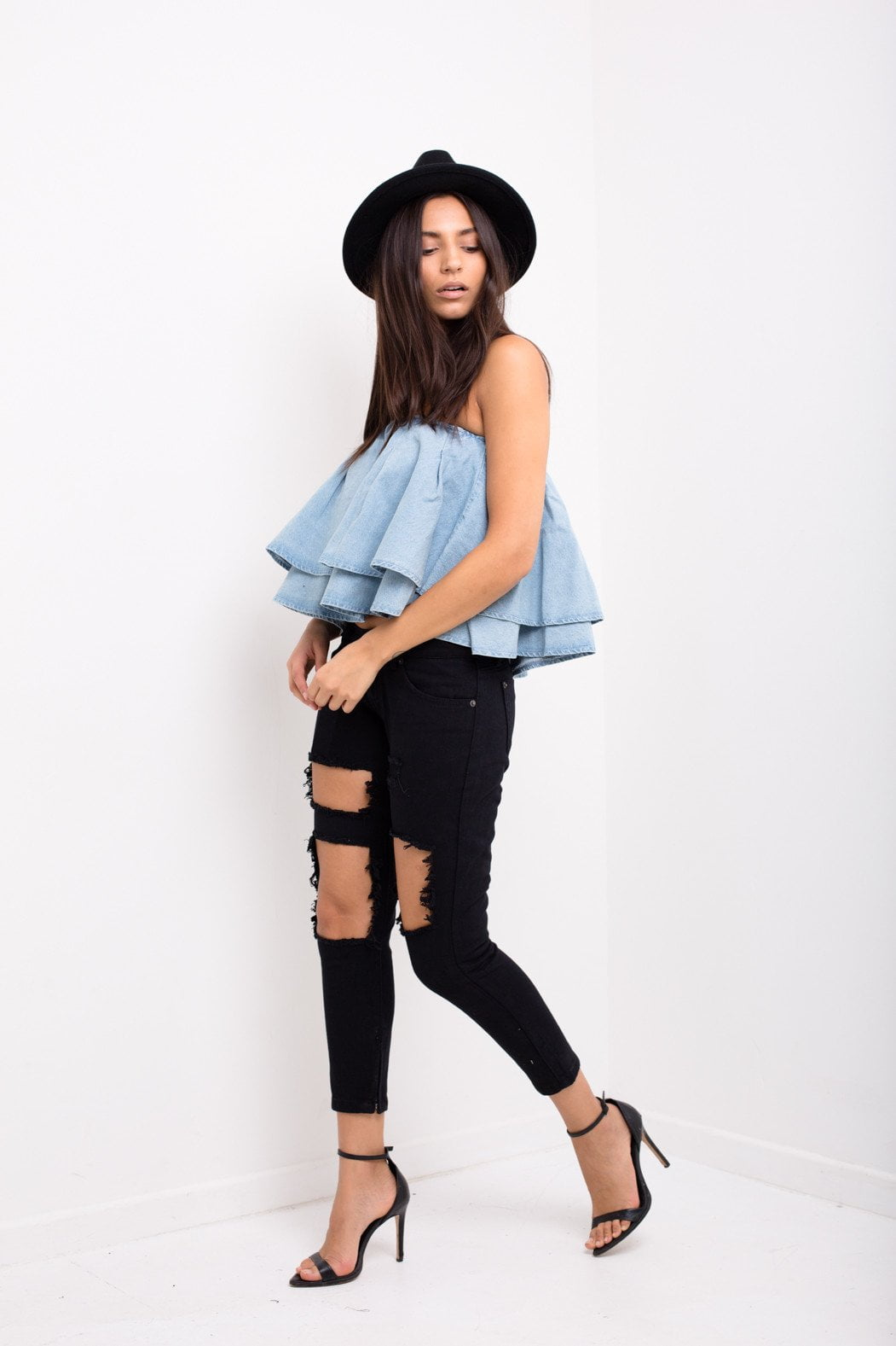 Liquor n Poker - Ruffle denim crop top - Liquor N Poker  Liquor N Poker