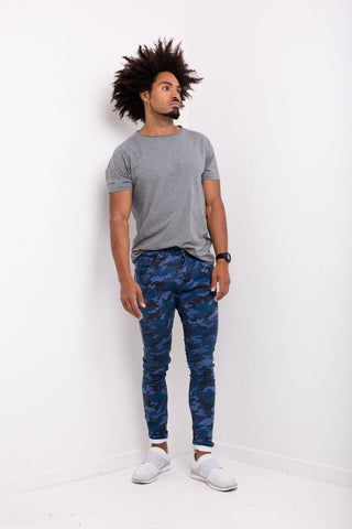 Liquor n Poker - Williamsburg Skinny Biker jean in all over navy camo print
