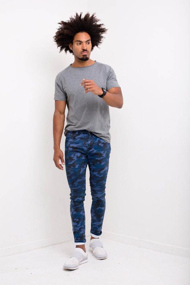 Williamsburg Skinny Biker Jean In All Over Navy Camo Print - Liquor N Poker  LIQUOR N POKER