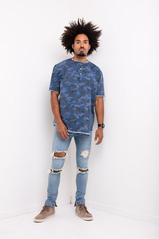Liquor n Poker - Williamsburg denim t shirt in navy camo - Liquor N Poker  Liquor N Poker
