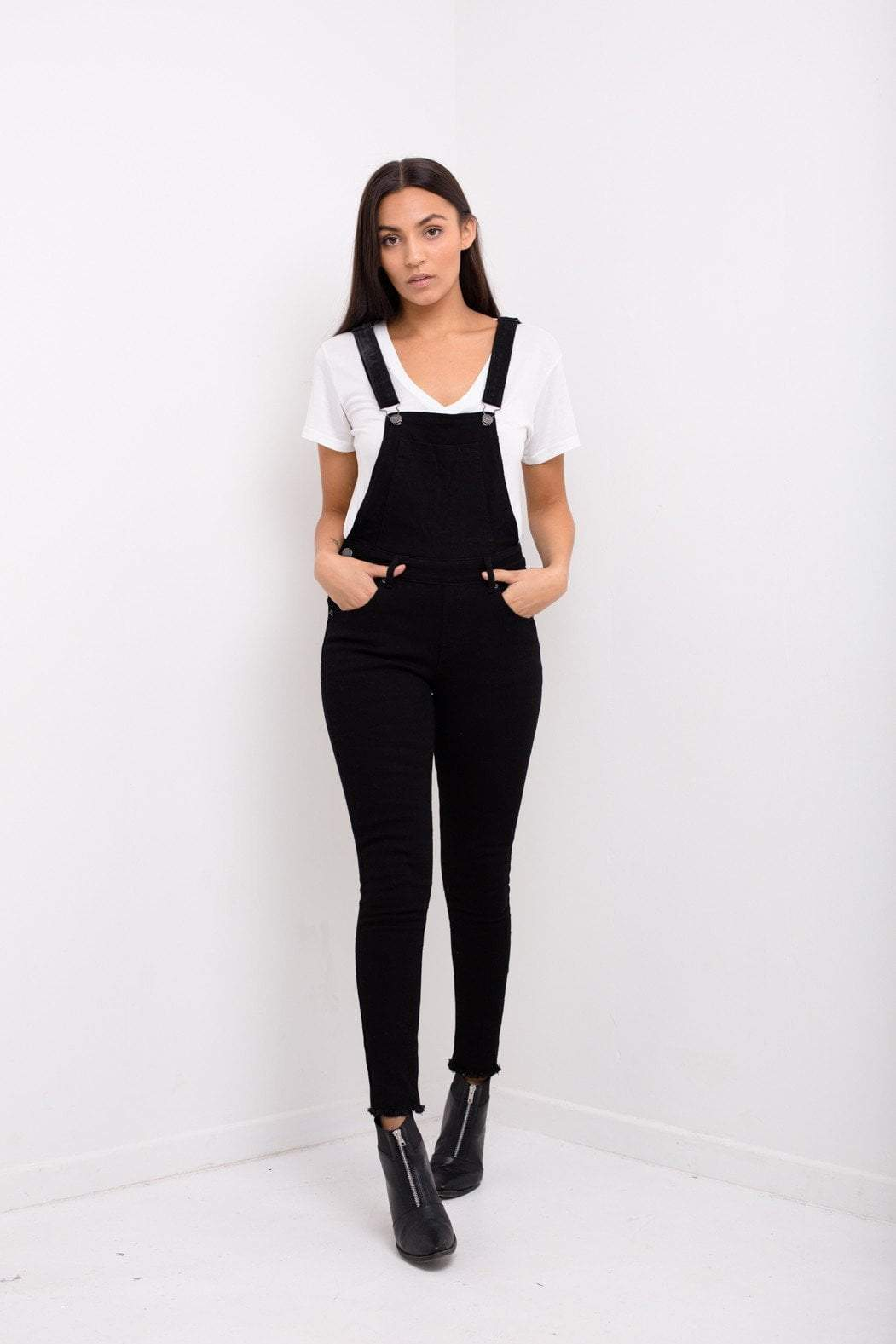 Liquor n Poker - Lizzie clean black skinny denim dungaree without rips - Liquor N Poker  Liquor N Poker