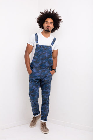 Liquor n Poker - Williamsburg navy camo denim dungaree - Liquor N Poker  Liquor N Poker
