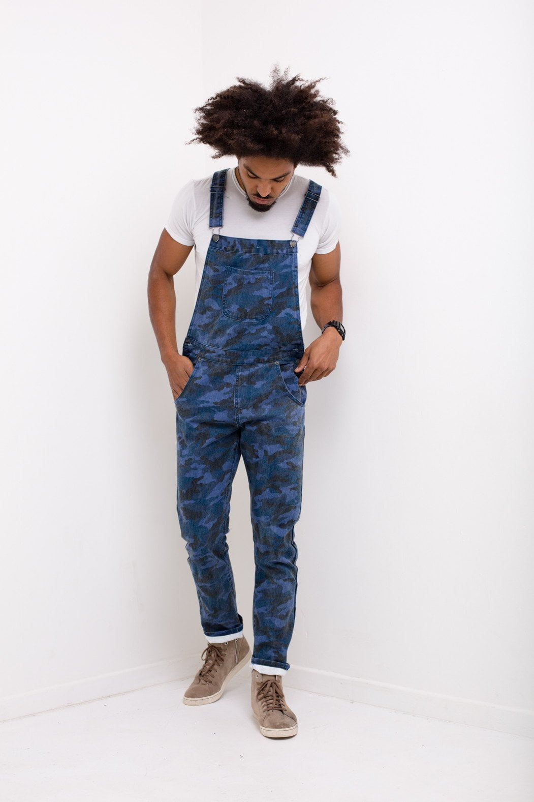Williamsburg Navy Camo Denim Dungaree - Liquor N Poker  Liquor N Poker