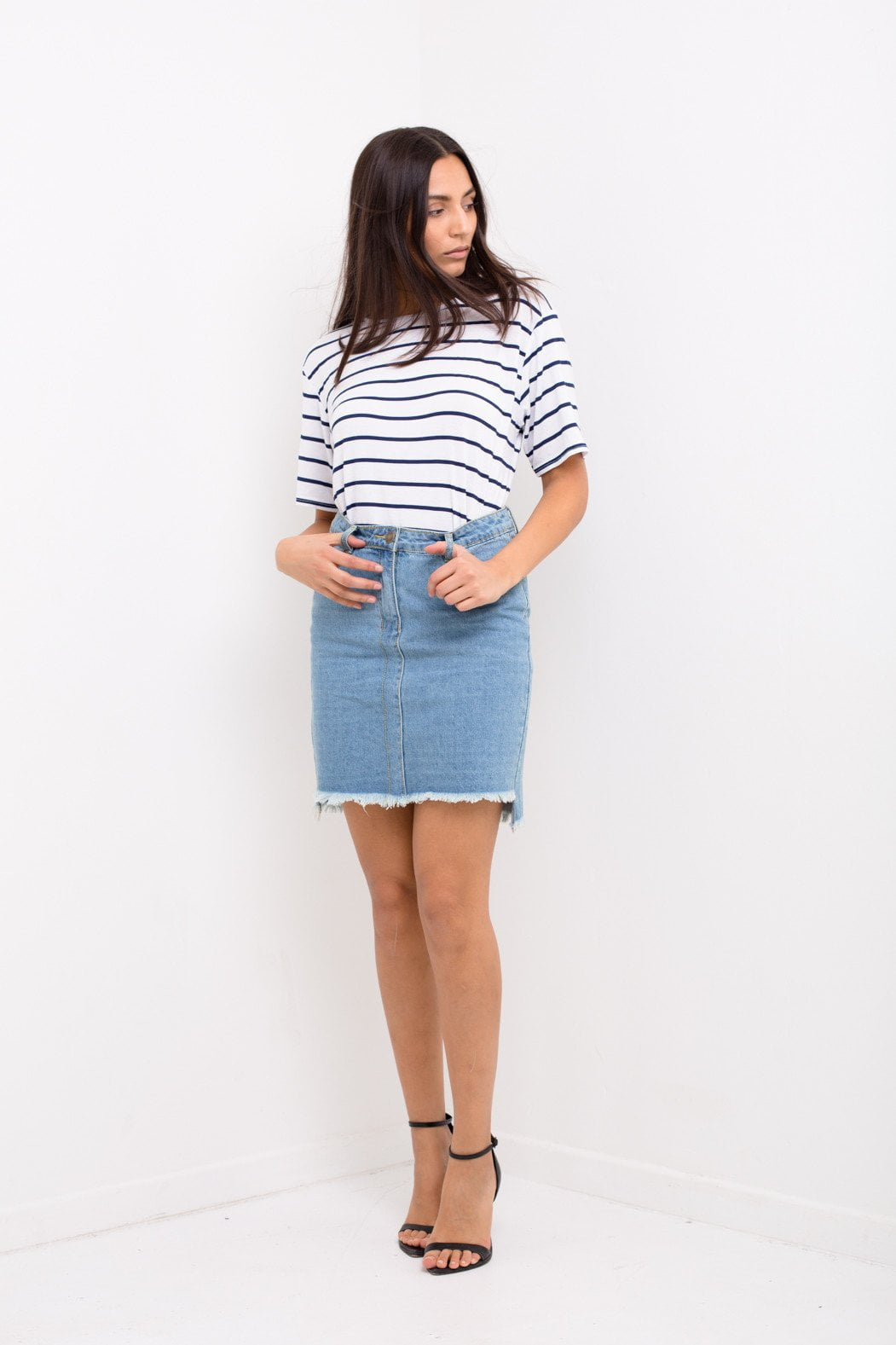 Liquor n Poker - Stepped hem midi skirt with raw edge hem - Liquor N Poker  Liquor N Poker