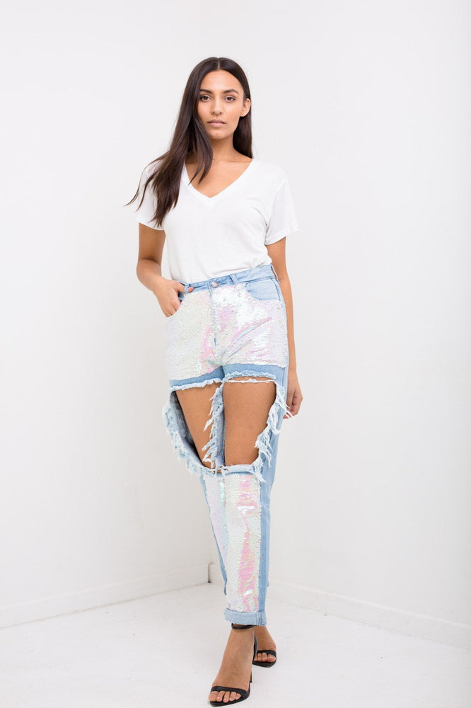 Lax High Rise Mom Jeans With Mermaid Pink Sequin Inserts