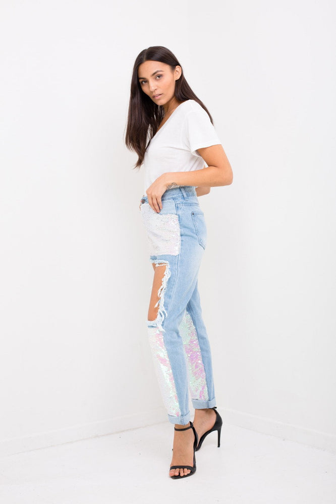 Lax High Rise Mom Jeans With Mermaid Pink Sequin Inserts - Liquor N Poker  LIQUOR N POKER