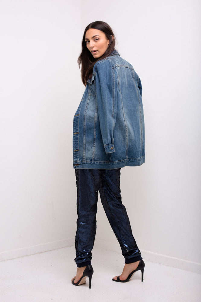 Delaware Longline Denim Jacket In Vintage Dark Indigo