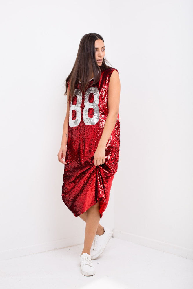 Varsity Basketball Dress In Red Sequin And Number 88
